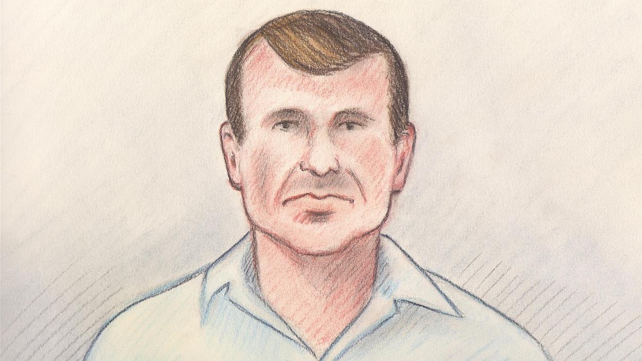 Un dessin de cour d'un homme blanc aux cheveux bruns.