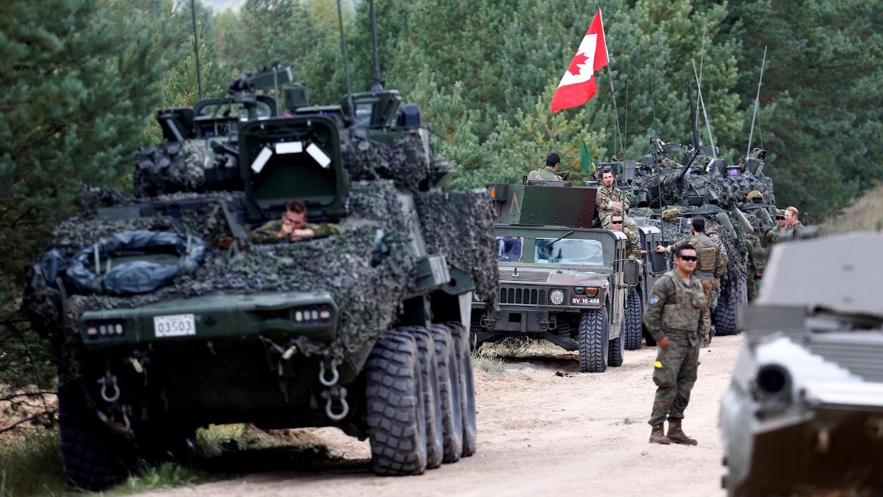Des véhicules militaires transportent des soldats canadiens