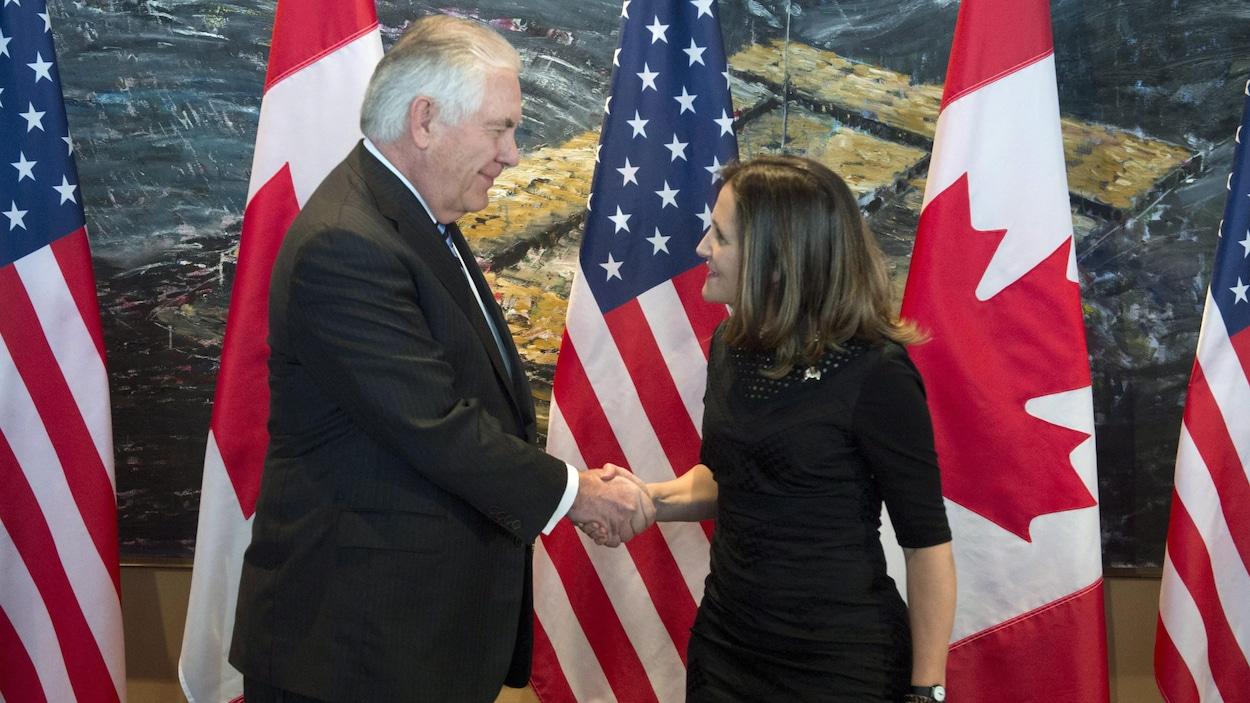 Rex Tillerson et Chrystia Freeland se serrent la main