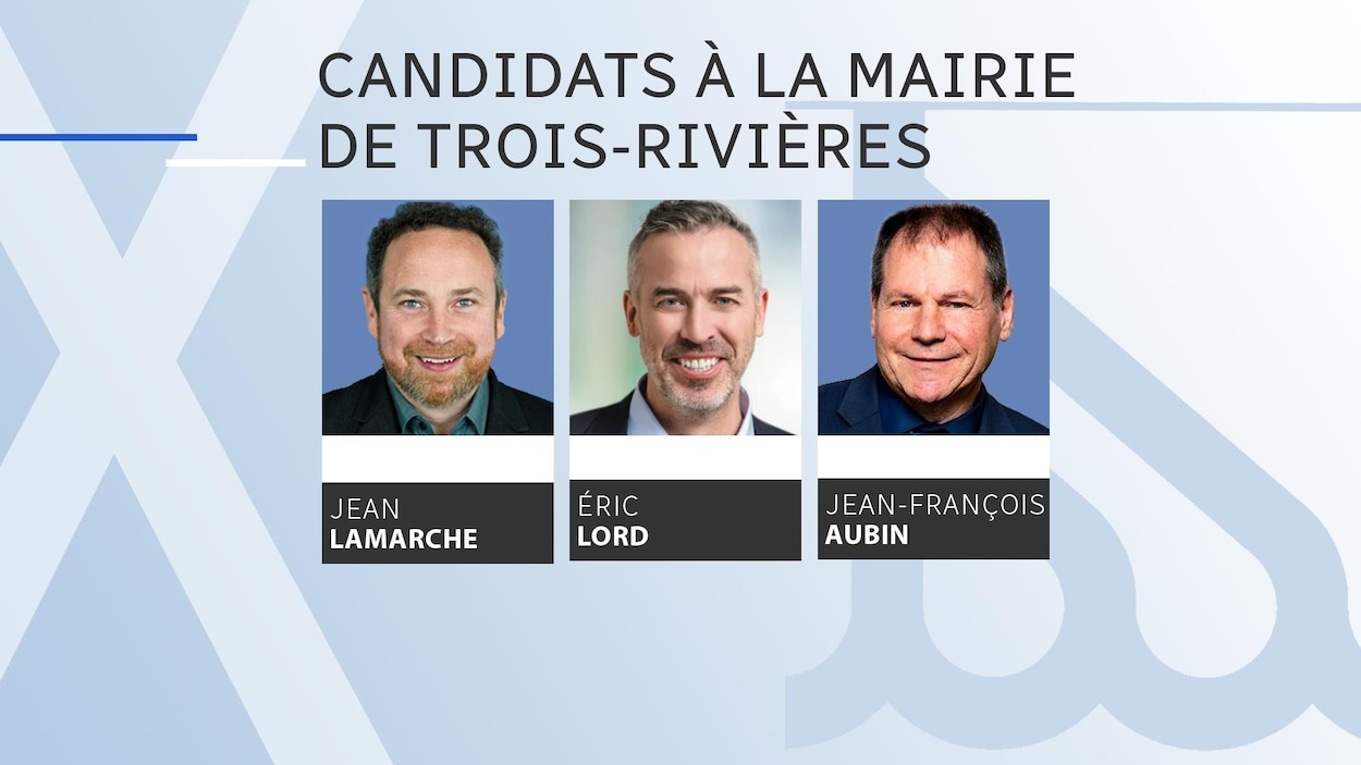 Photos des candidats Jean Lamarche, Éric Lord et Jean-François Aubin