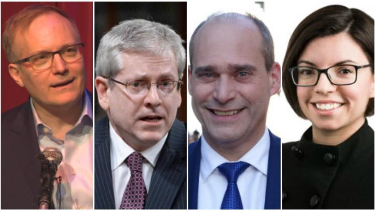 Peter Julian, Charlie Angus, Guy Caron et Niki Ashton sont candidats pour la direction du NPD.