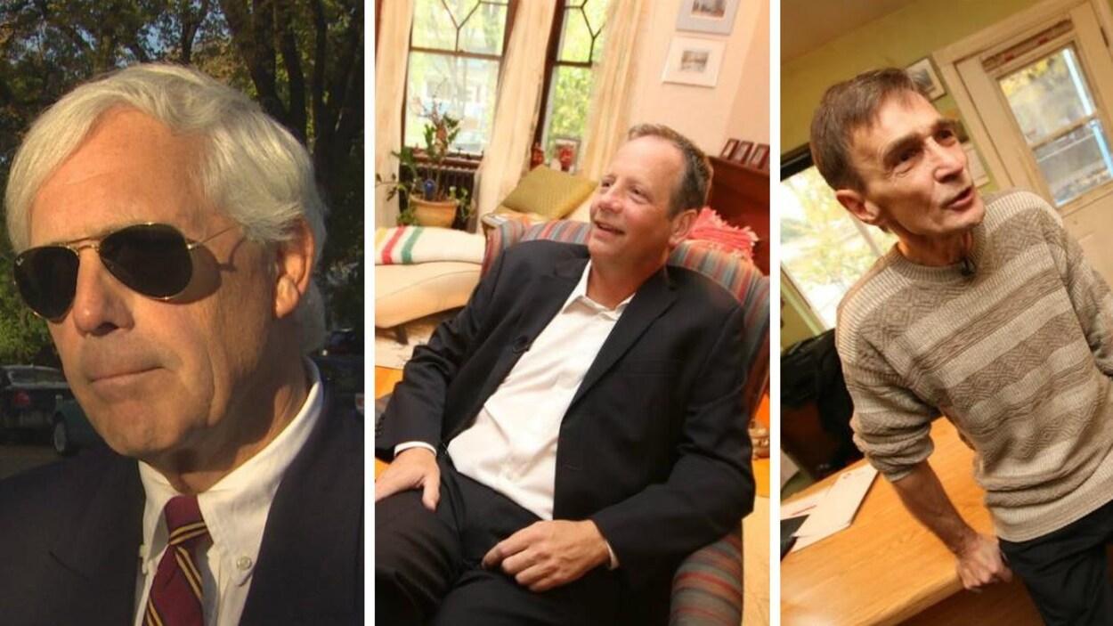Trois hommes photographiés en différents endroits.