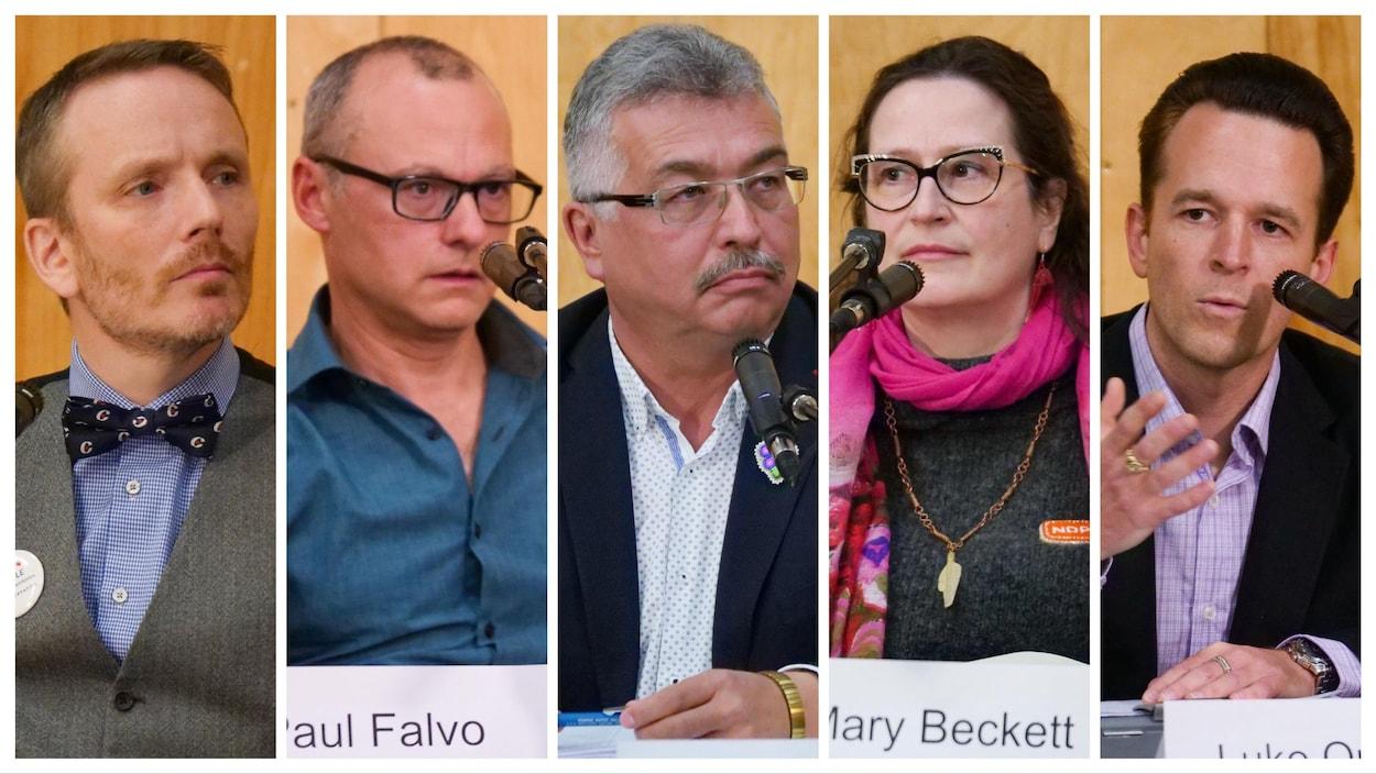 Photomontage de plans serrés des six candidats.