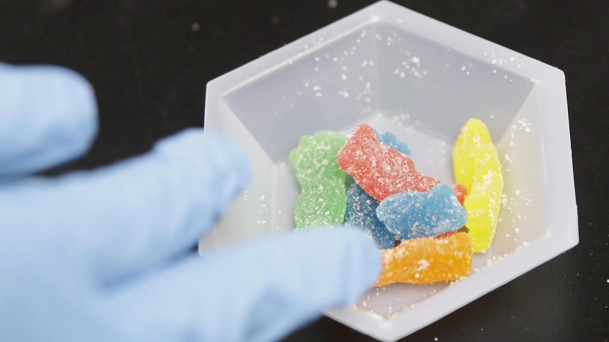 Des bonbons en forme d'ourson enrobés de sucre.