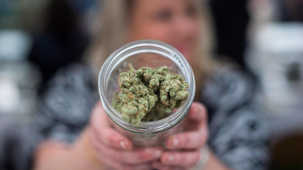 De la marijuana dans un bocal en verre proposée par un vendeur dans un comptoir de vente de cannabis.