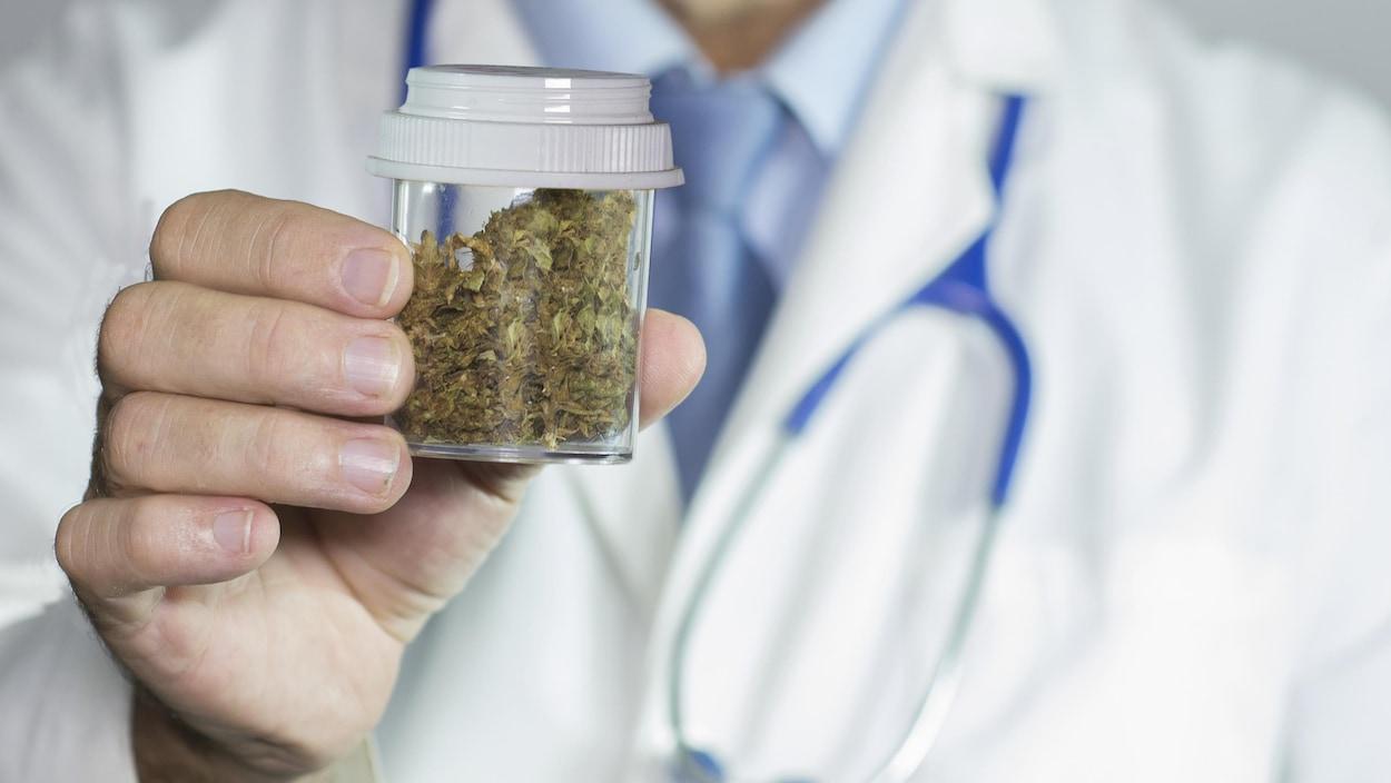 Médecin tenant un flacon contenant du cannabis séché.