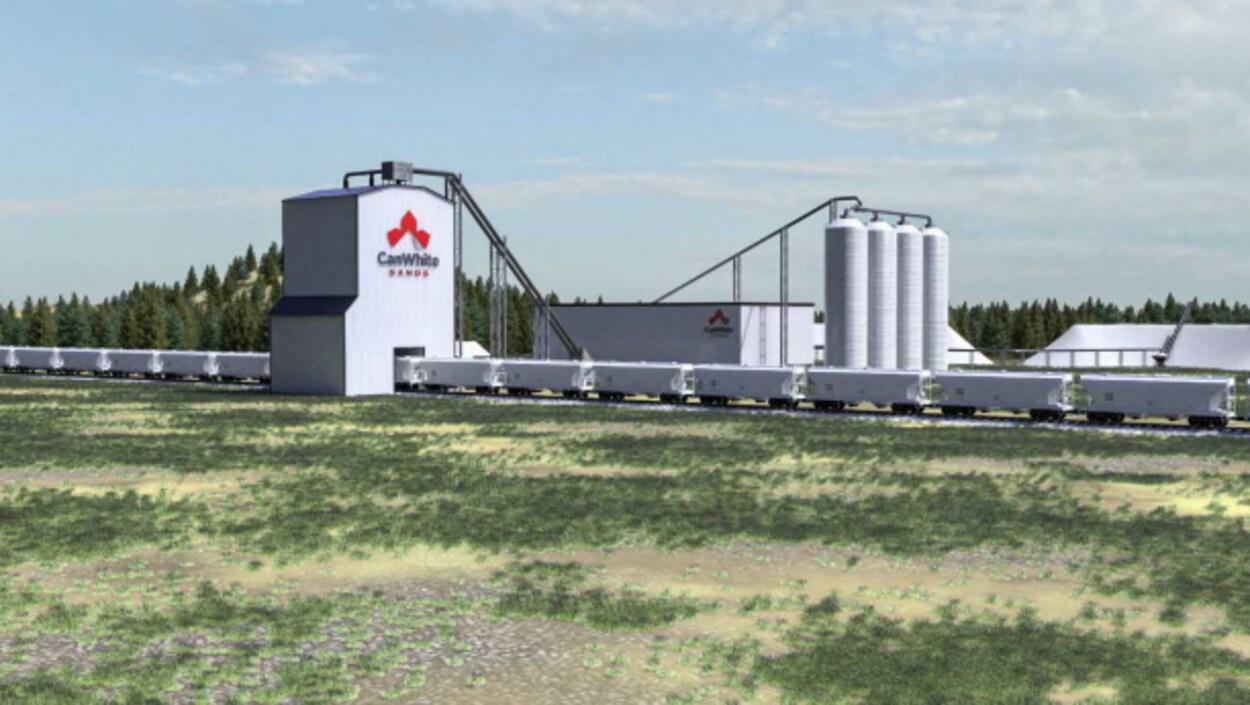 Image représentant l'usine de traitement de la compagnie CanWhite Sands une fois construite.