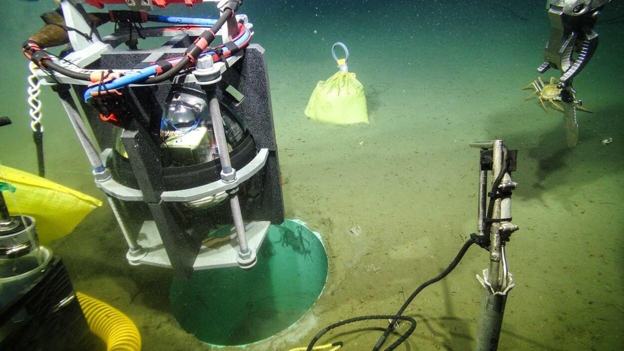 Un robot installe un capteur sismique en métal dans l'eau au large de l'île de Vancouver.