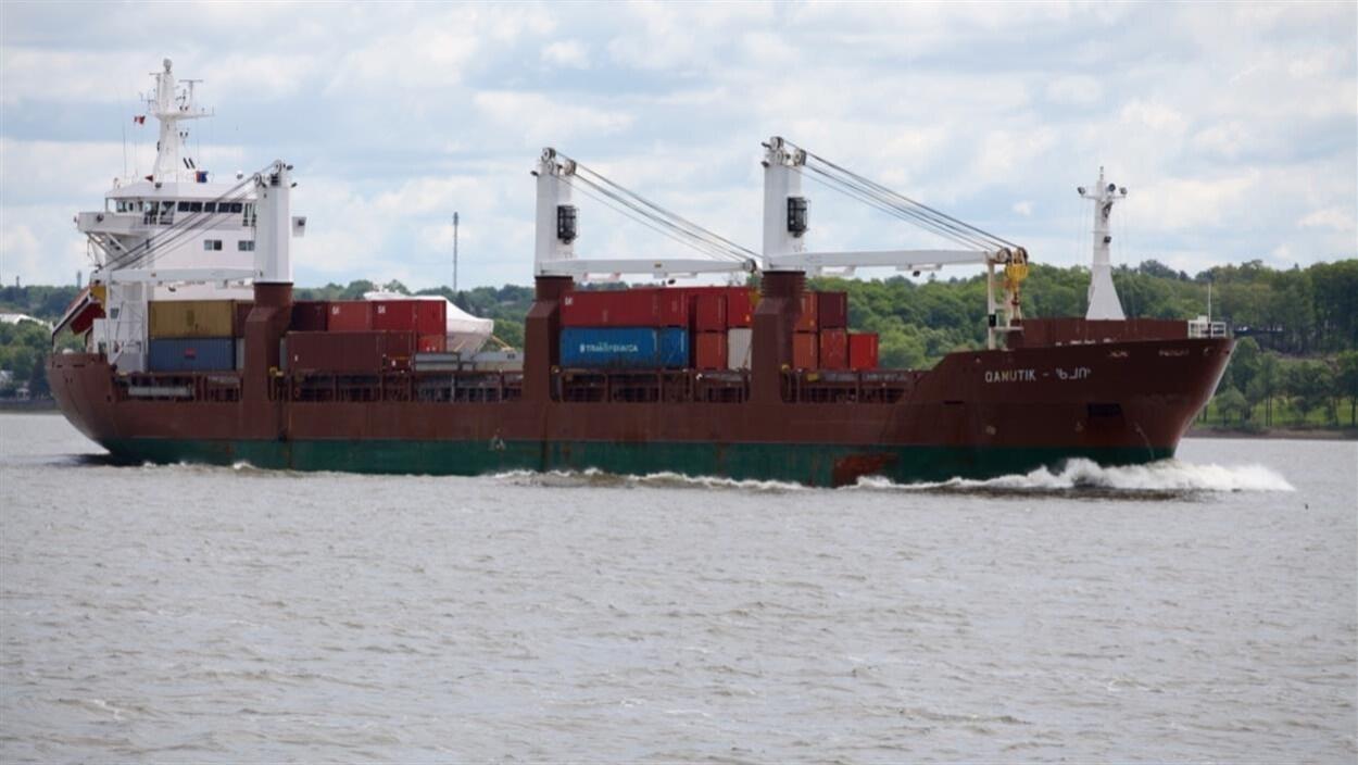 Un cargo sur le fleuve Saint-Laurent.