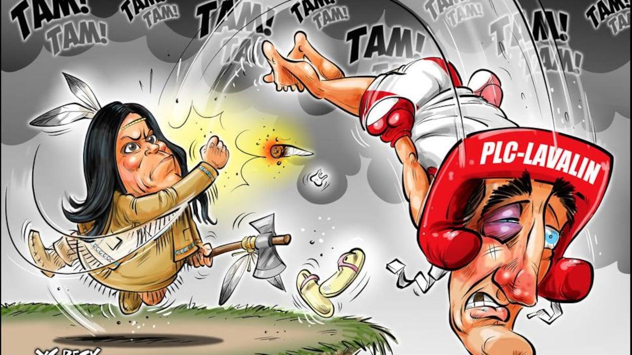 On voit dans cette caricature le premier ministre en tenue de boxe, alors que Mme Wilson-Raybould est vêtue de franges de cuir, de mocassins et de plumes et porte un tomahawk.
