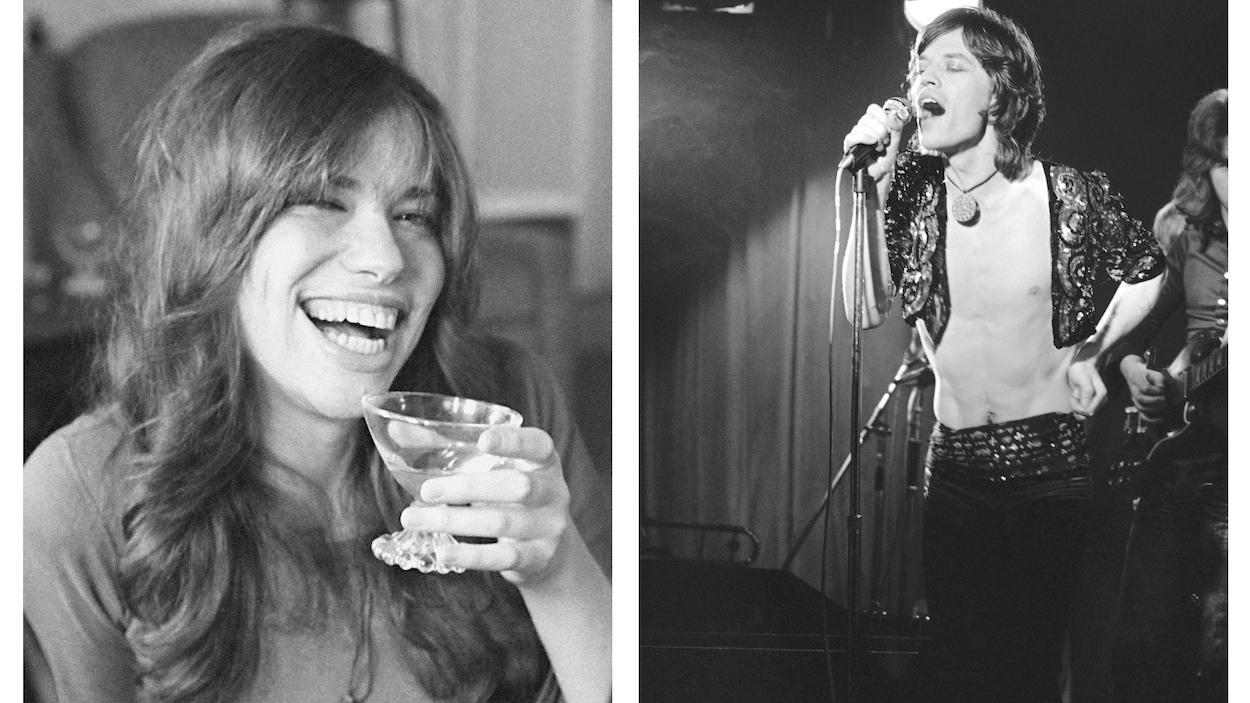 À gauche, la jeune femme rit en tenant un verre dans ses mains, à droite, l'homme chante sur scène.