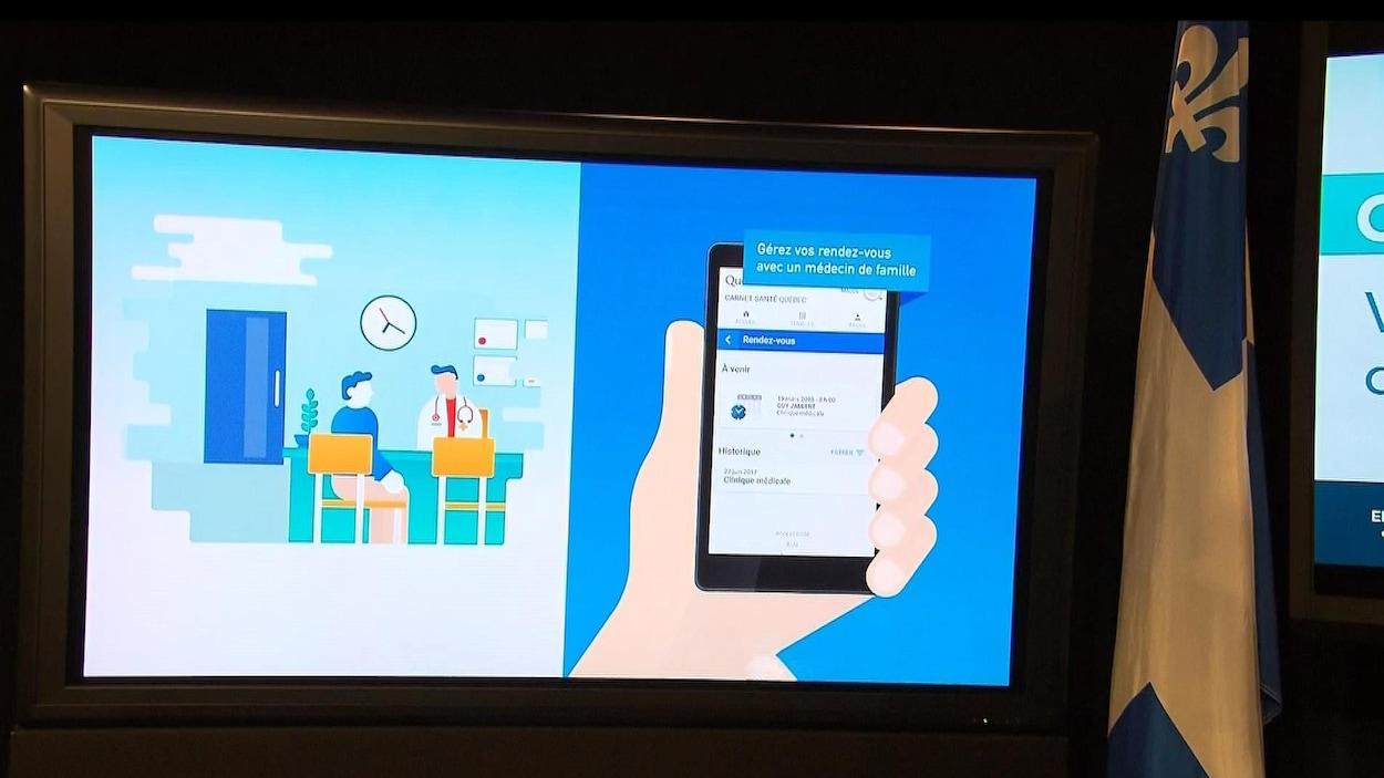 Présentation du carnet de santé virtuel lancé par le gouvernement du Québec.