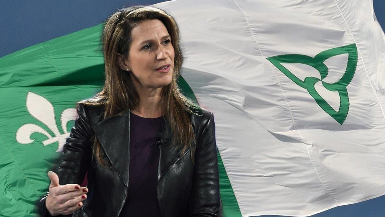Une femme superposée au drapeau franco-ontarien