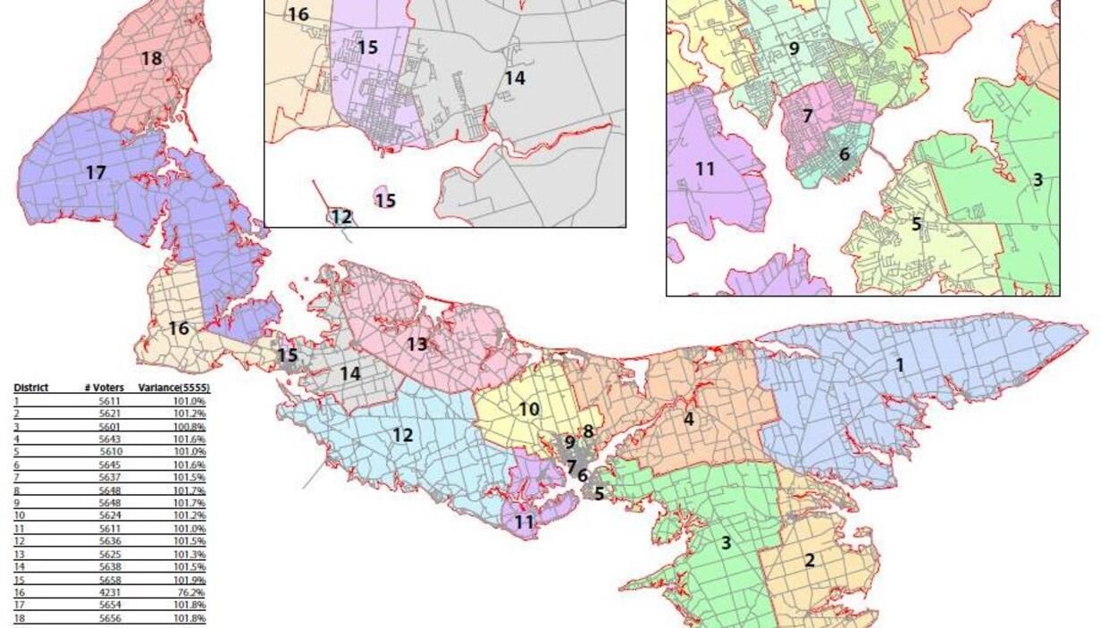 La Commission de révision des limites électorales de l'Île-du-Prince-Édouard a imaginé à quoi ressemblerait la carte électorale si la province décidait d'adopter un mode de scrutin proportionnel mixte.