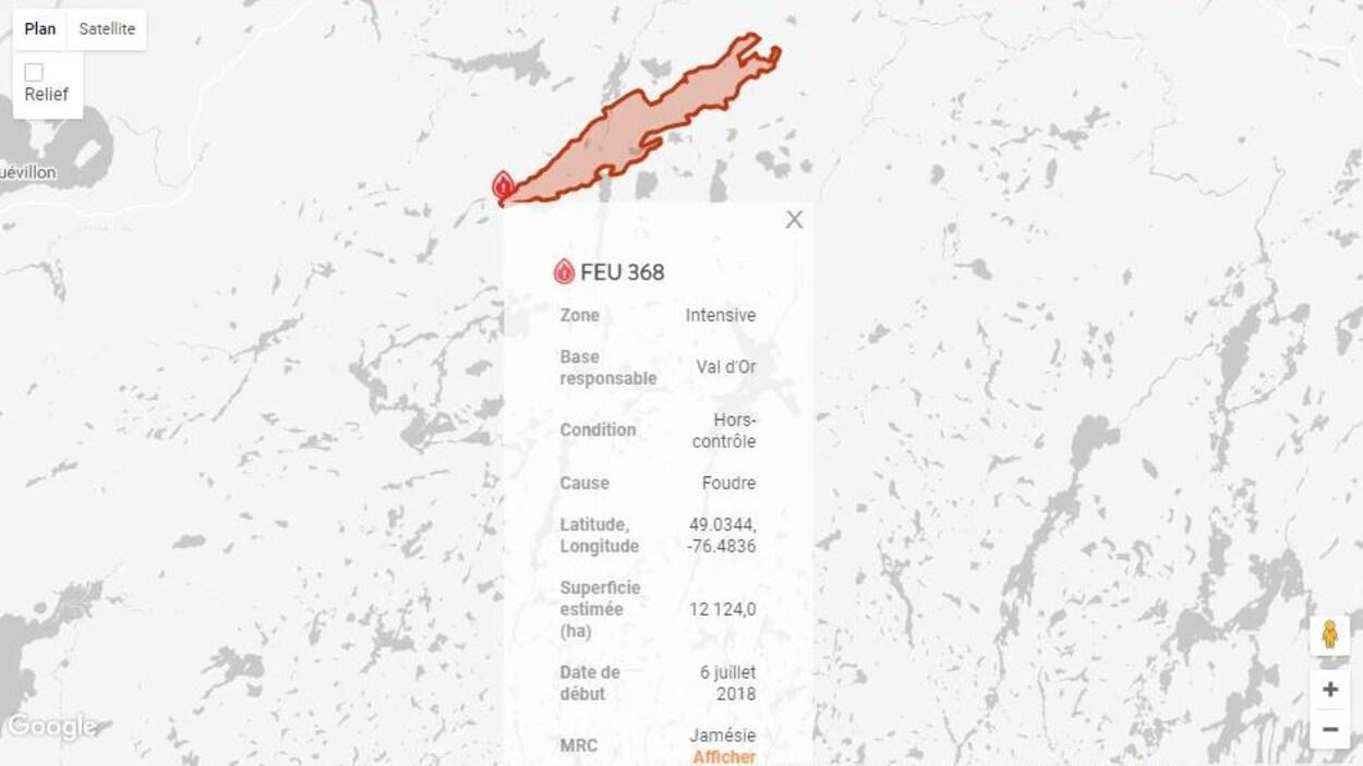 La superficie estimée du feu est passée à 12 124 hectares.