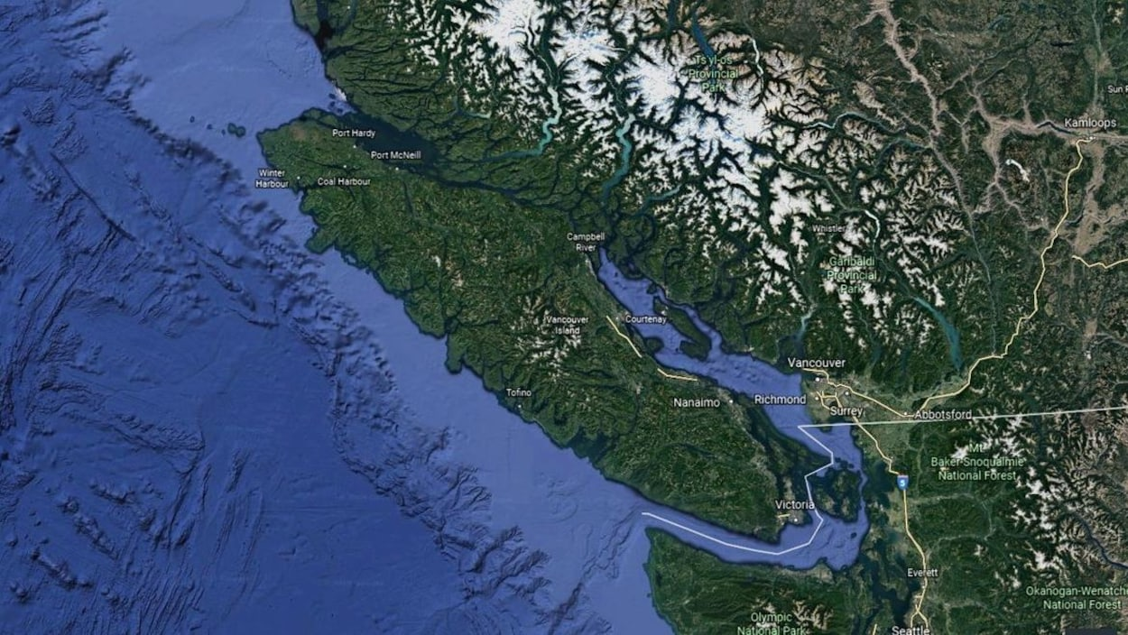Une carte de l'Île de Vancouver.
