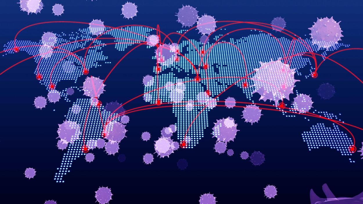 Illustration d'un virus qui se répand sur une carte du monde.