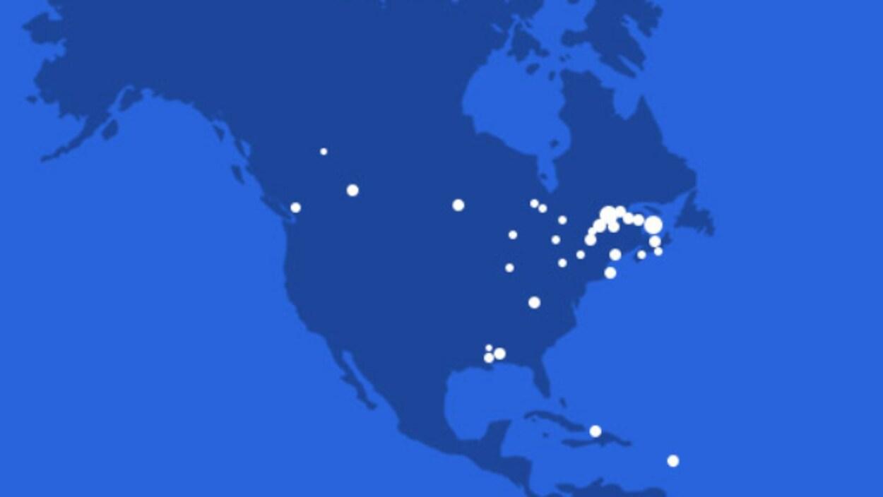 Carte de l'Amérique du Nord avec des points indiquant l'emplacement des villes membres du réseau.