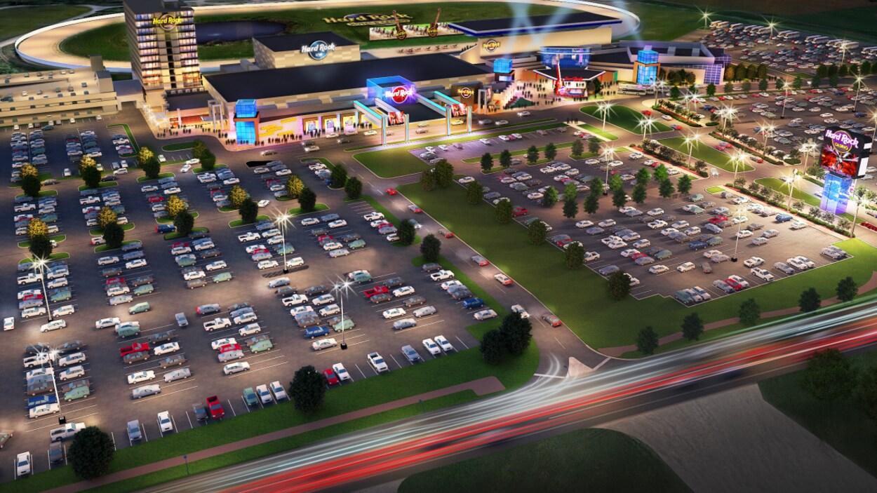Un dessin d'un casino et d'un grand stationnement
