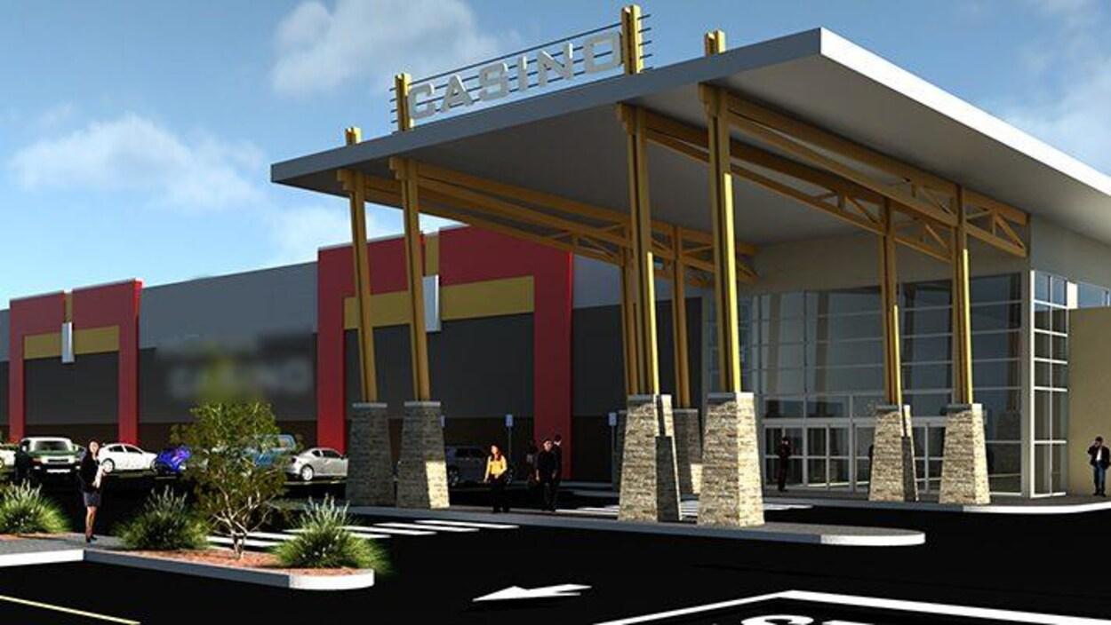 Entrée du casino autochtone de Lloydminster avec des places de stationnement.