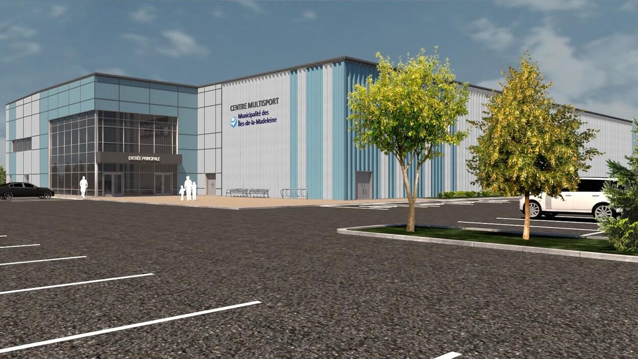 L'extérieur du futur centre multisports des Îles-de-la-Madeleine