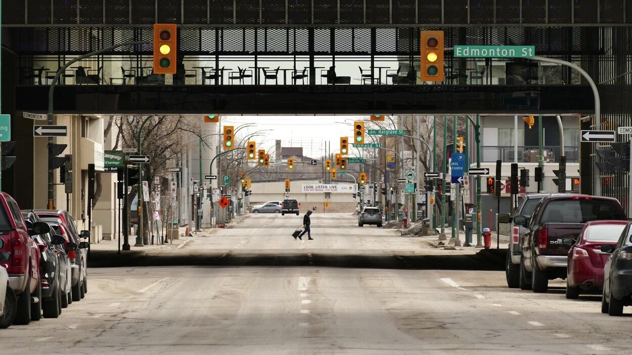 Le centre-ville de Winnipeg en avril 2020.