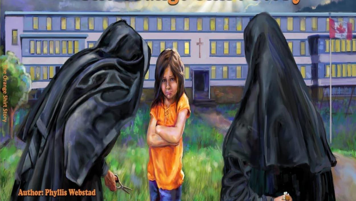 Le dessin d'une jeune fille apeurée par deux religieuses devant un pensionnat autochtone.
