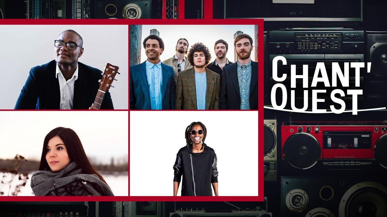 Les artistes en compétition : Trésor Otshudi, Jérémie & The Delicious Hounds, Renelle Ray et Kara Free, sur fond d'équipements audio et le logo du Chant'Ouest