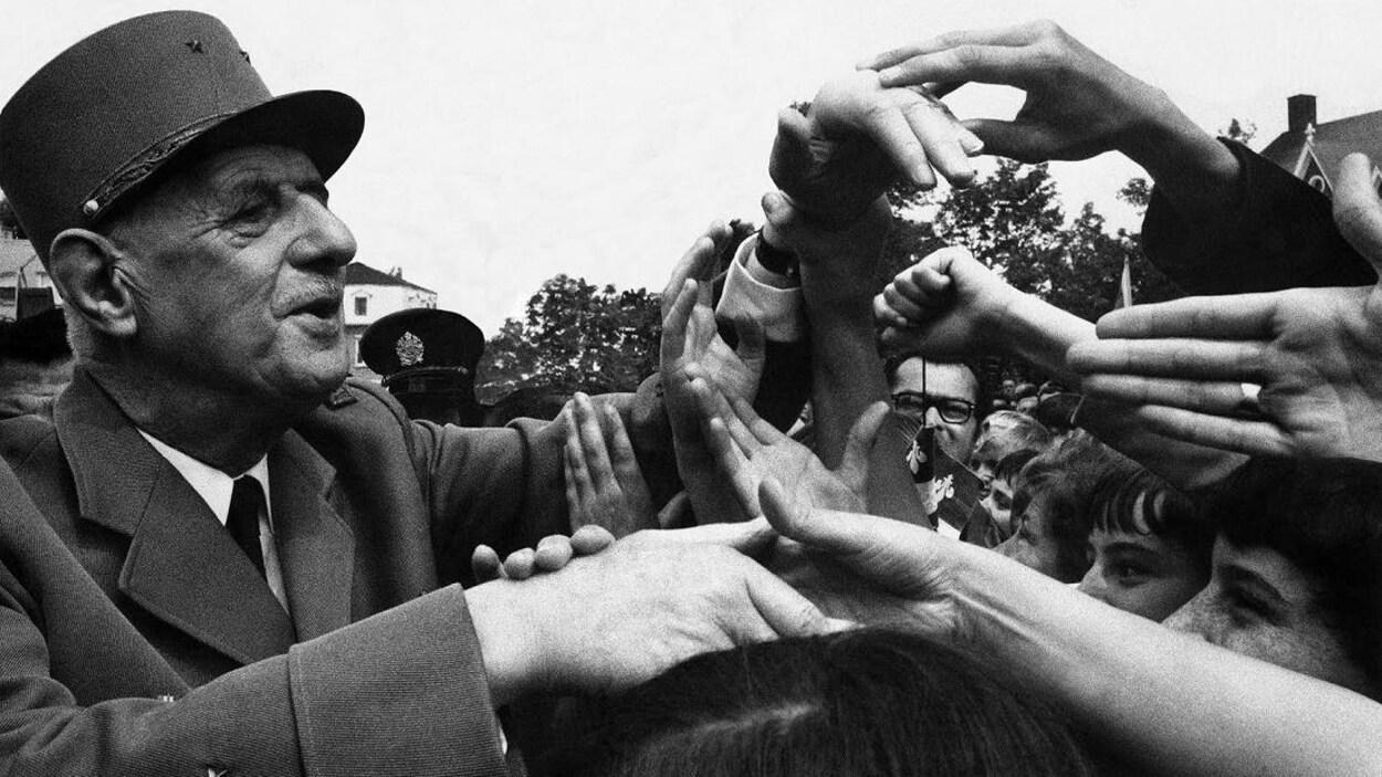 Le président français Charles de Gaulle à Montréal, en juillet 1967