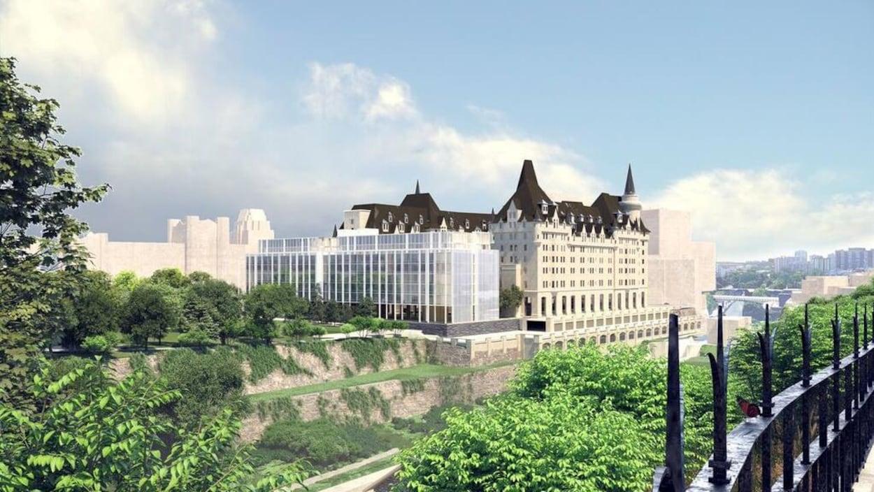 Vue depuis le parlement de la troisième mouture du projet d'agrandissement du Château Laurier.