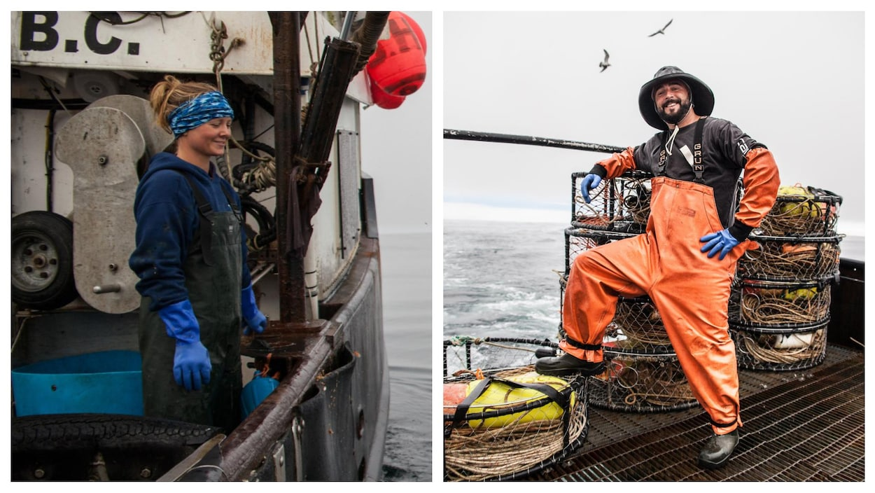 Deux photos montrant une femme et un homme sur un bateau de pêche.