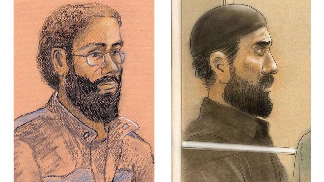 Des croquis de cour de Chiheb Esseghaier et de Raed Jaser juxtaposés.
