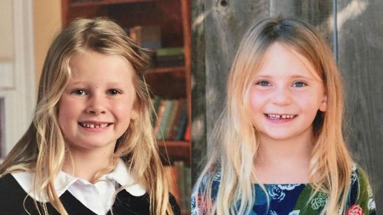 Portrait de deux jeunes filles blondes et souriantes.