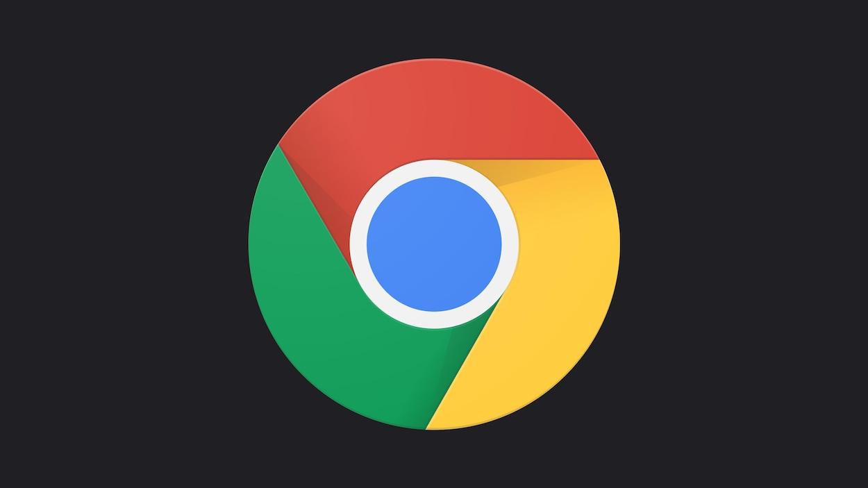 Le logo de Google Chrome sur un fond gris foncé.