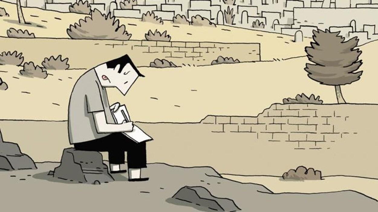 Illustration montrant un personnage assis sur une roche au pied d'un mur en train de dessiner dans un carnet