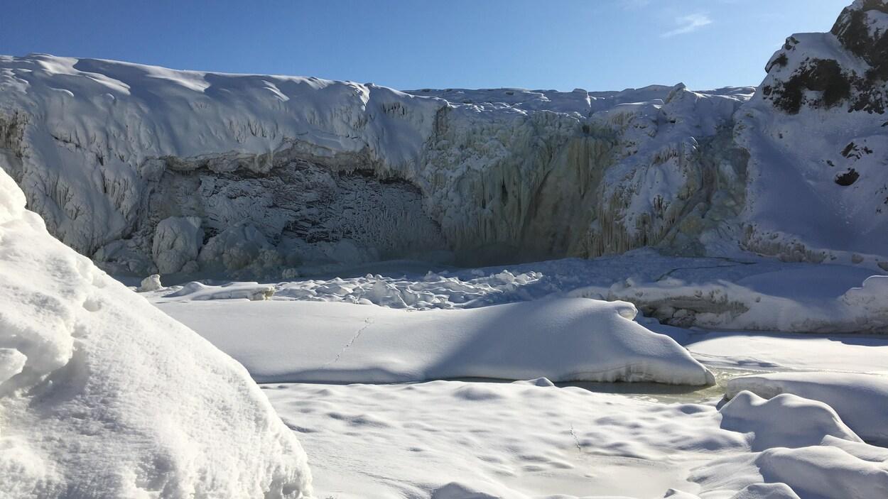Les chutes de la rivière Chaudière à Lévis en janvier 2020