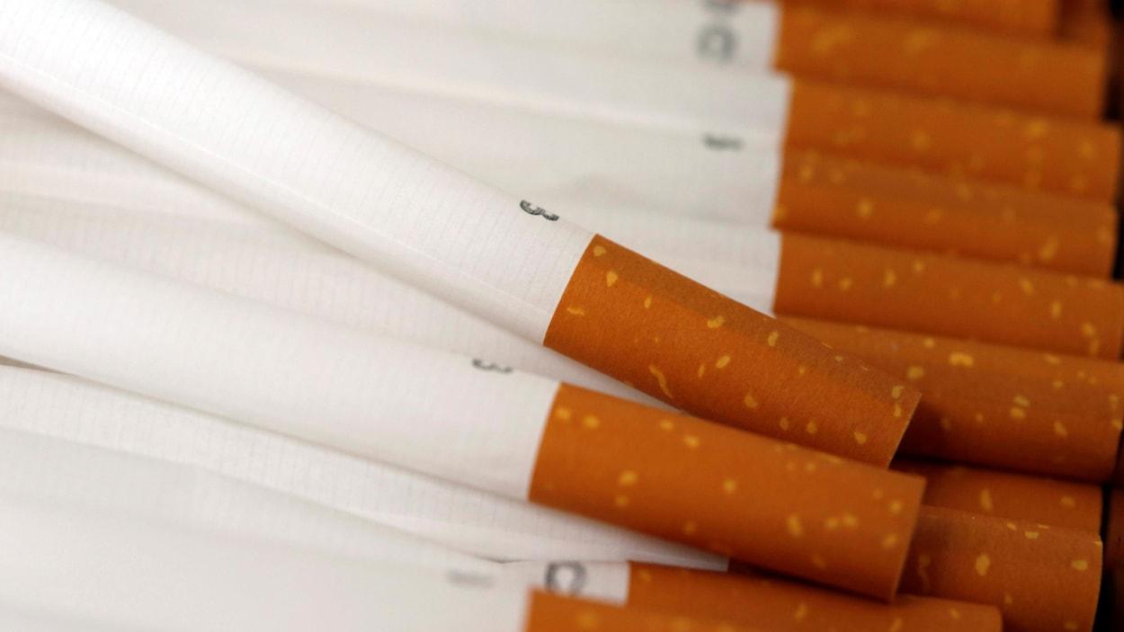 Des cigarettes empilées.