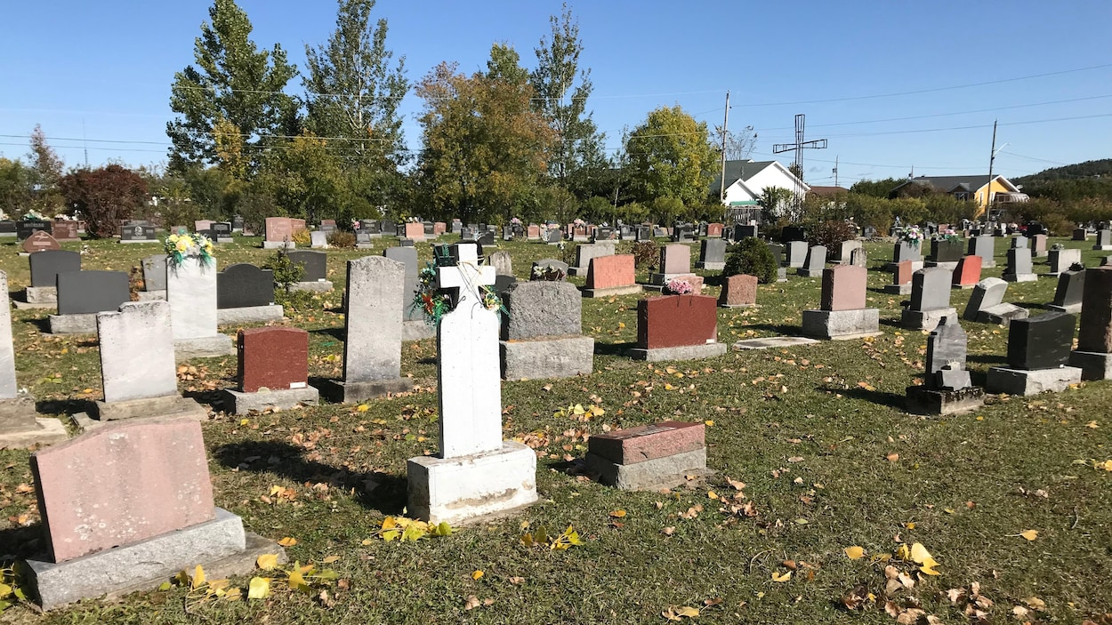 Des pierres tombales dans un cimetière.