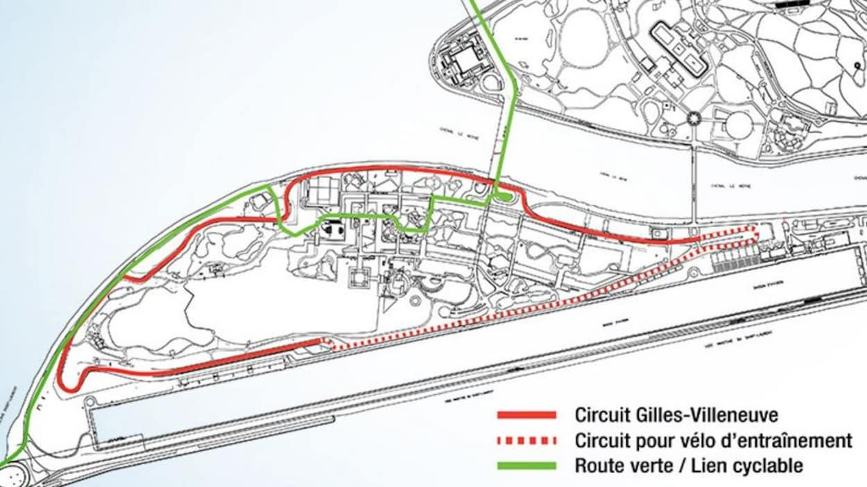 Plan montrant la portion fermée du circuit Gilles-Villeneuve de l'île Notre-Dame, durant l'été 2017