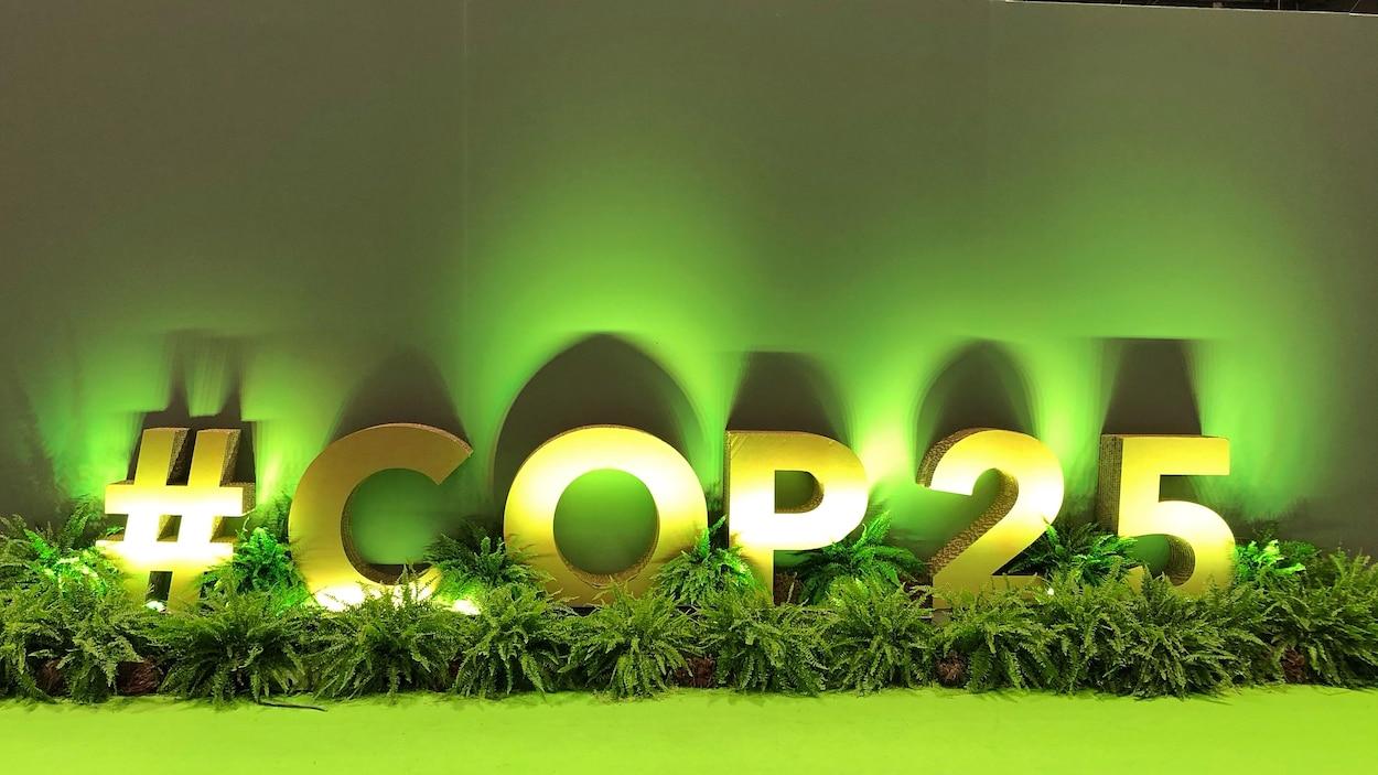 Un panneau d'accueil à la COP25 de Madrid.