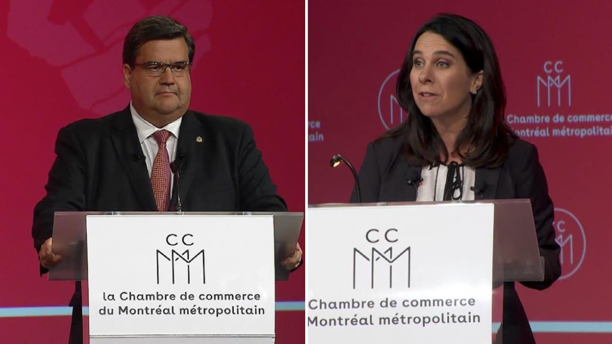 Denis Coderre et Valérie Plante lors du débat organisé par la Chambre de commerce du Montréal métropolitain, au Centre Sheraton
