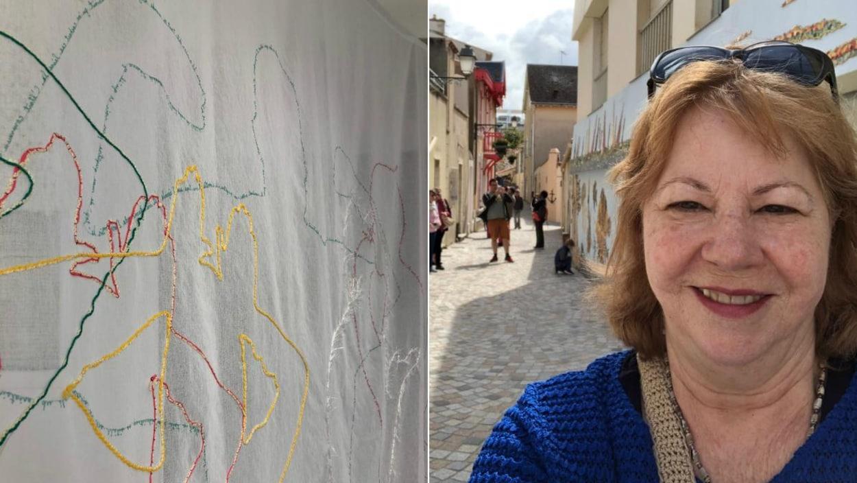 Montage de deux photos verticales : à gauche, une oeuvre de l'artiste (une grande toile blanche brodée de fils de couleur dessinant des formes); à droite, un égoportrait de l'artiste, une femme aux cheveux courts portant dans une ruelle en France.