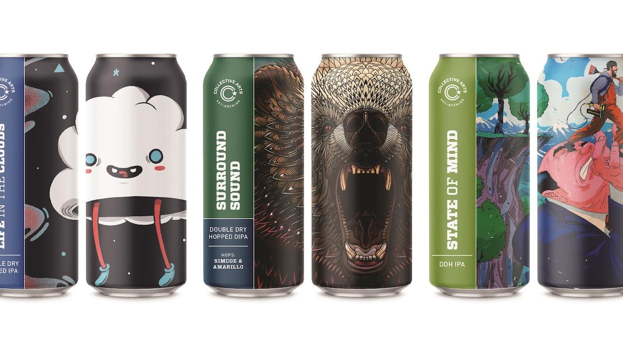 Une sélection de canettes de bière arborant des illustrations très colorées