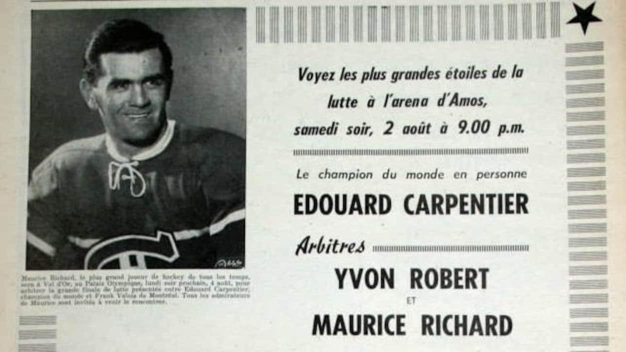 Affiche annonçant le gala de lutte avec Maurice Richard comme arbitre