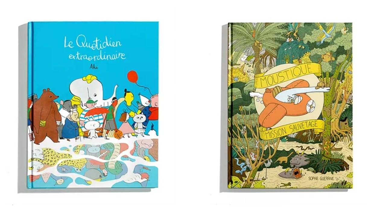 Deux couvertures de livres colorées sur lesquelles on retrouve des dessins d'animaux, de personnages et de nature.