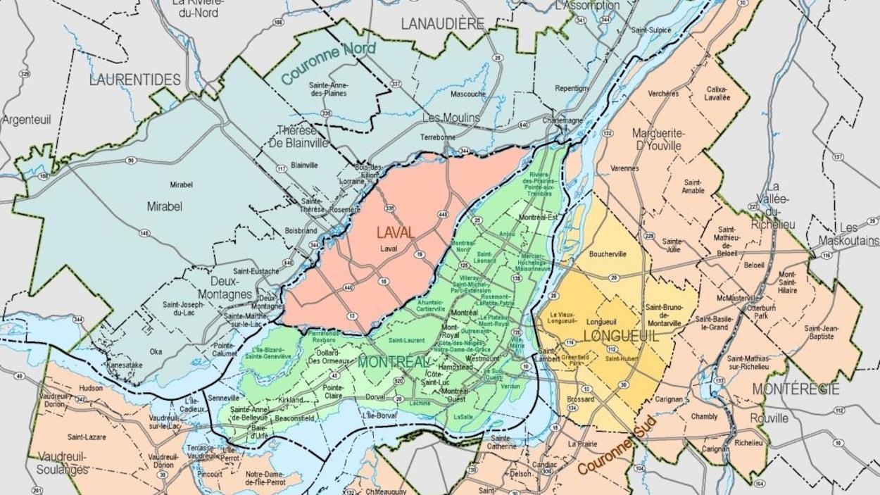 Carte du territoire de la communauté métropolitaine de Montréal