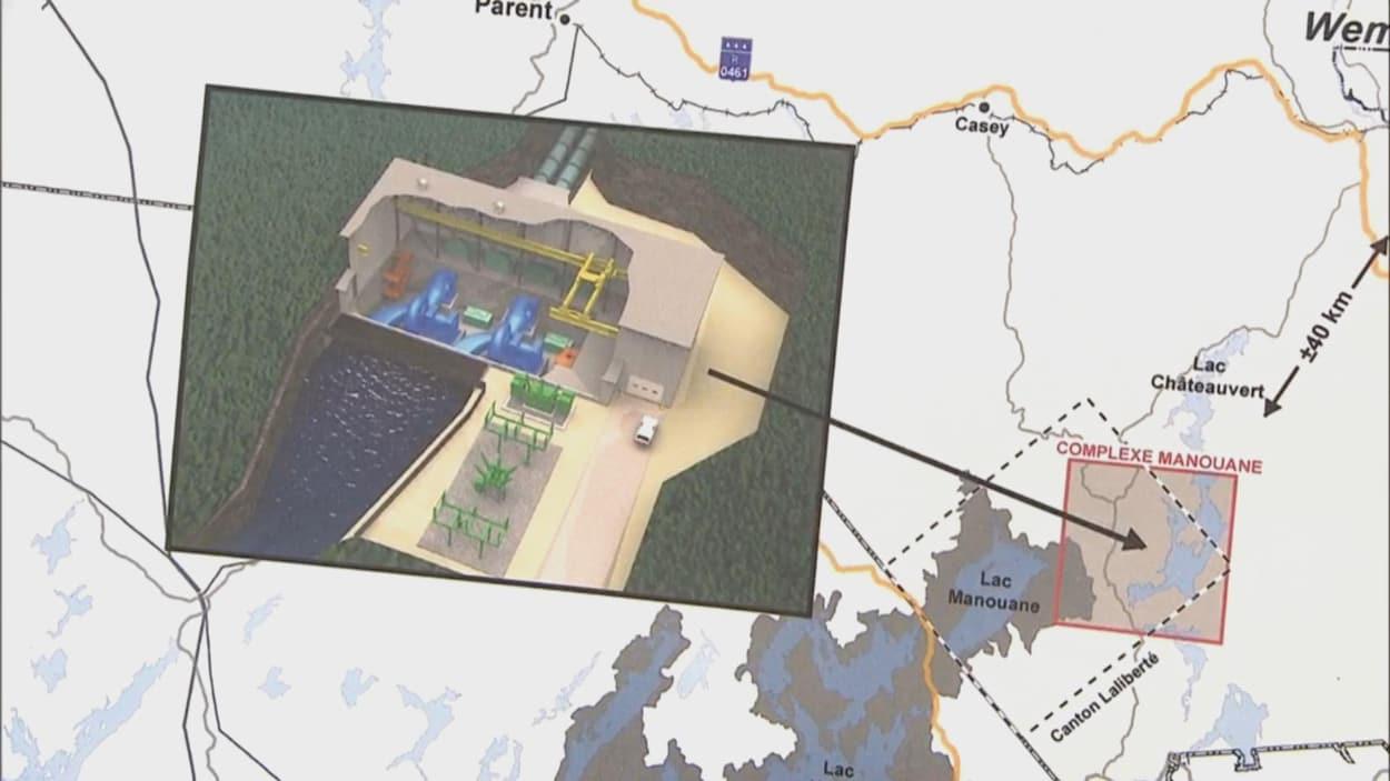 Schéma et carte de la minicentrale envisagée sur la rivière Manouane, en Haute-Mauricie
