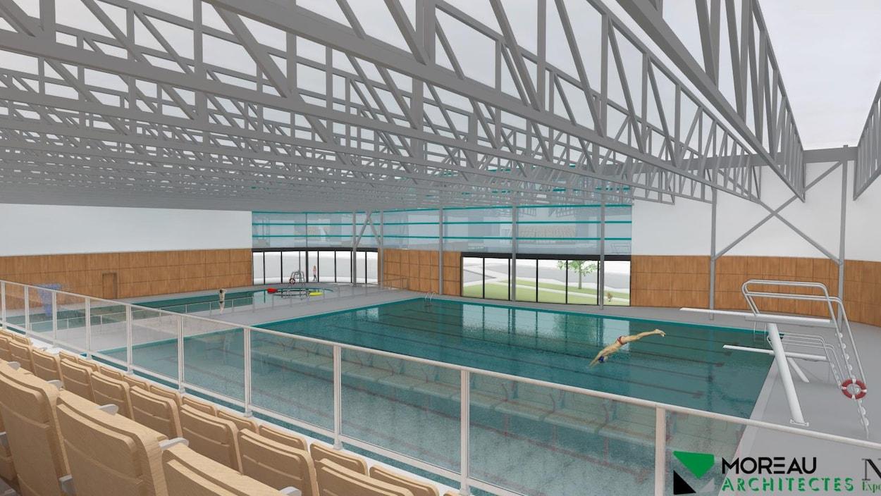 Esquisse de la piscine du projet de complexe aquatique.
