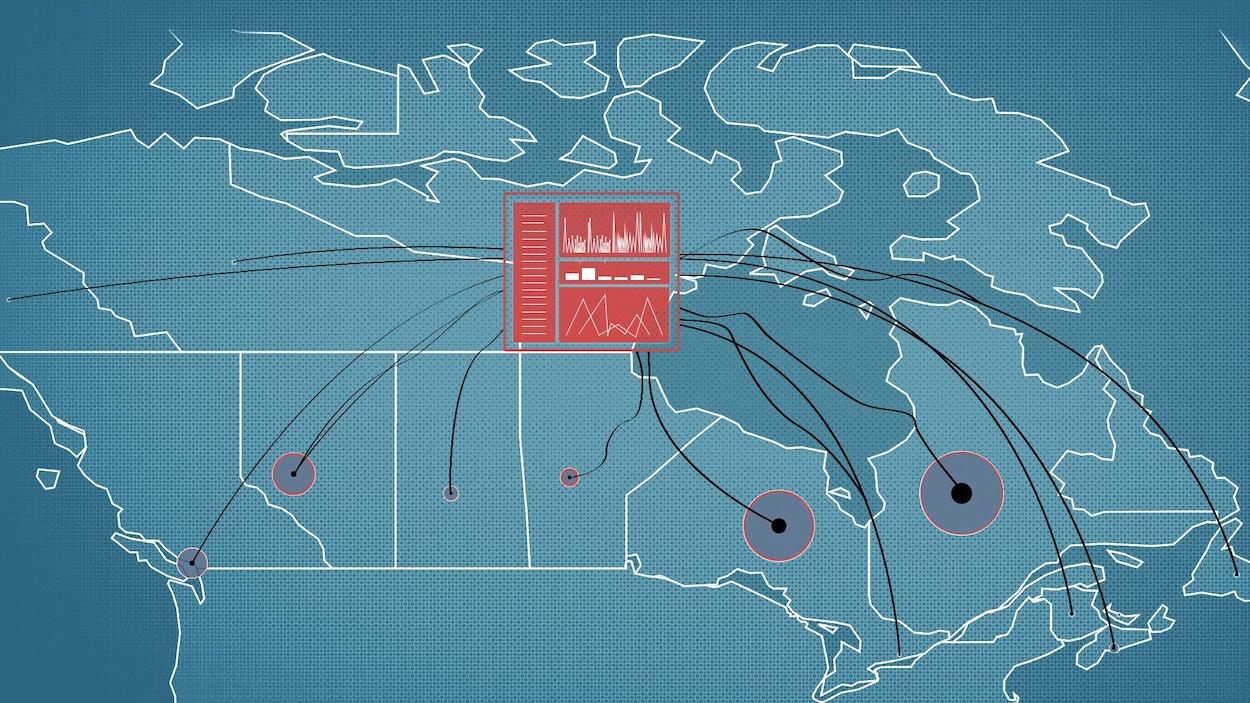 Une carte du Canada avec un site web au centre qui rassemble les données provinciales.