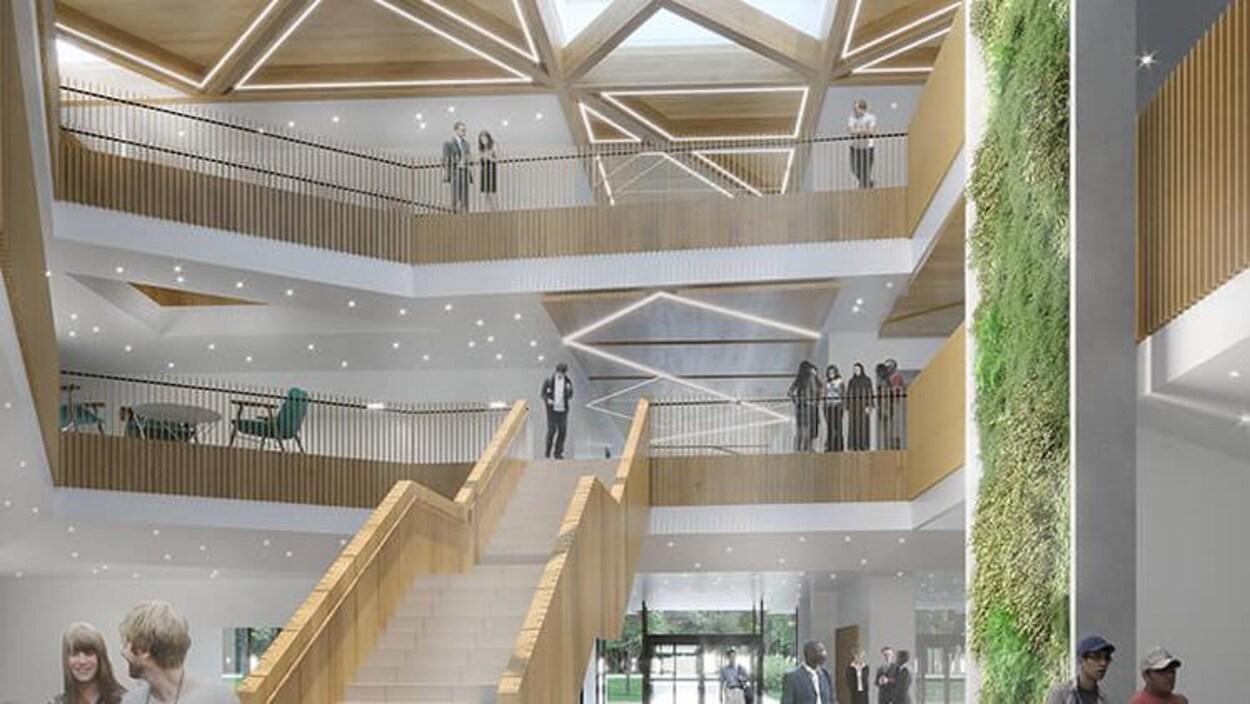 Image de synthèse montant l'intérieur spacieux et lumineux d'un bâtiment. Le bois est très présent, un mur végétalisé est présent sur la droite.
